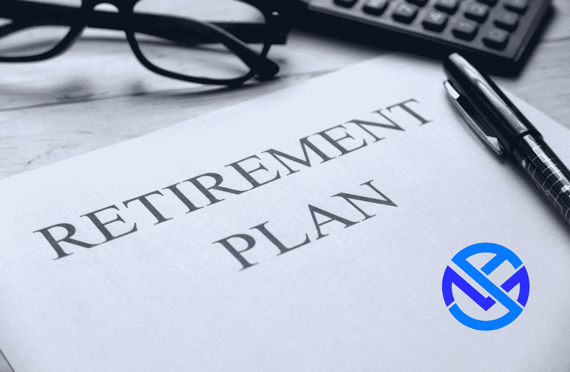 """Report titled """"retirement plan"""" laying on desk with pen, eyeglasses and calculator. Hero image for best annuity income riders guide at my annuity store, inc."""
