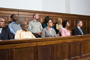 Image of a diverse group of jury members in a jury box