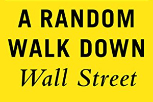Arandom walk down wall streeet , black sa-serif text over marigold yellow background.