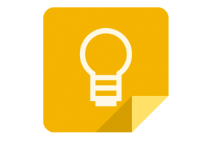 Google Keep logo, white lightbulb on goldenrod field