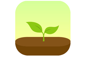 Small green carton sapling sprouting in fertile soil over a green to yellow gradient background