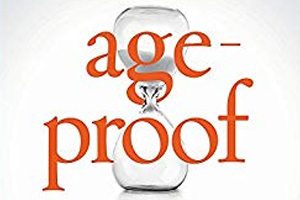 Coverof AgeProof, hourglass with title superimposed in front