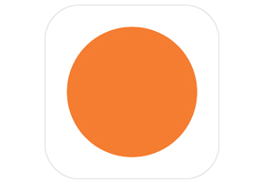 orange dot on with round corner button