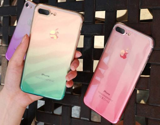 Transparent Clear Silicone Case Gradient Color