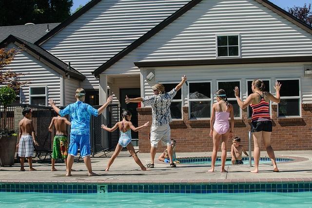 Aqua fun, pool party, swimming pool, family swimming,