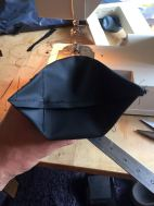 lazy way of finishing bottom, at that point the fabric stiffness started to be annoying
