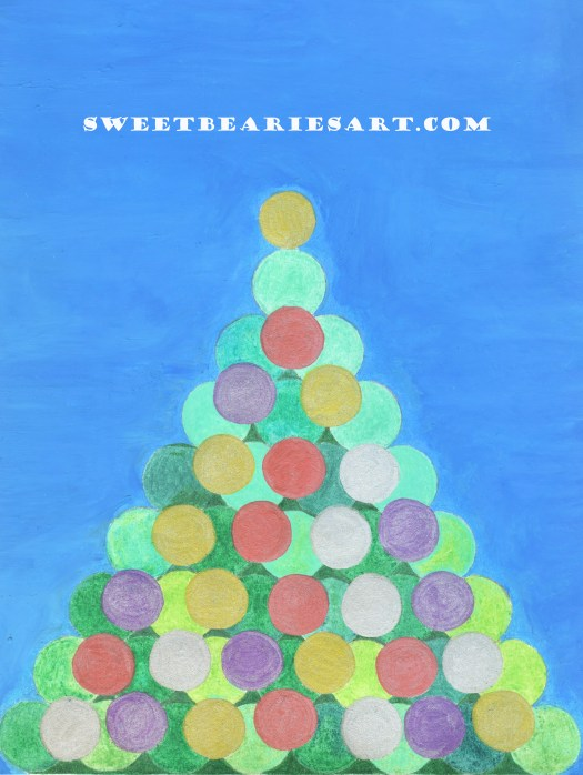 The Christmas tree coloring page was created with a quarter, dime, and penny.