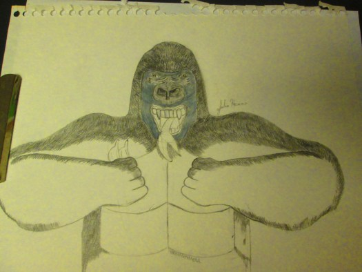 More fur has now been added to the arms and lower torso of the gorilla.