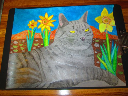 The finished Stripey cat drawing is on the clipboard.
