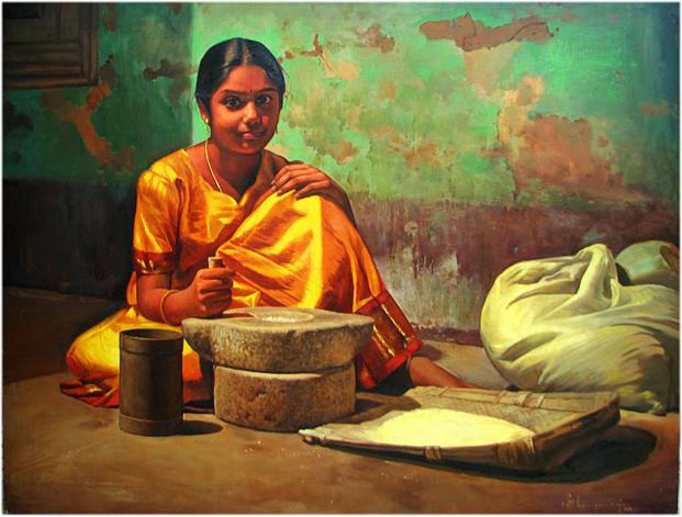 girl indian paintings by ilayaraja -  13
