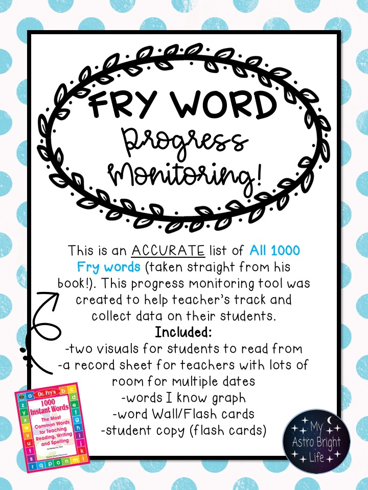 Fry Sight Words Progress Monitoring - My Astro Bight Life