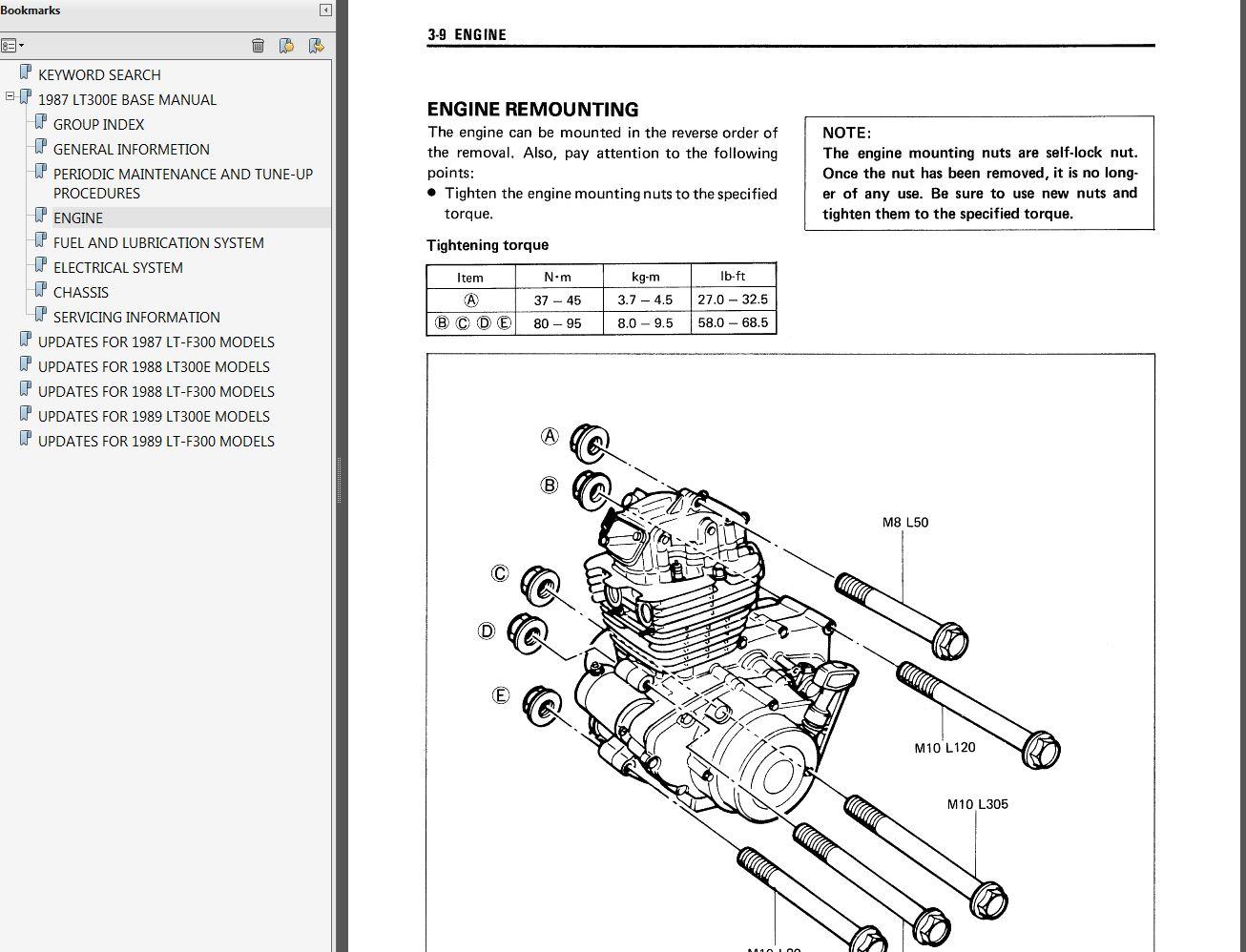 1987 1989 suzuki lt300e, lt f300 quadrunner service manual myatvmanual