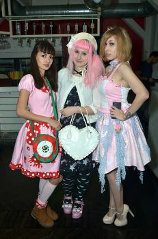 """Photo copyright Ognjen Karabegović. Hostesses Erica and Jelena in MyauMania designs for club Pepermint at the party by Nanut Sister """"I love Tokyo""""."""