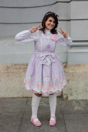 """Leona as a sweet lolita for pop culture program """"Day of Japan""""."""