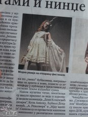 "Report about the fashion show in Serbian newspaper ""Politika"" with a picture of myauMANIA model Teodora."