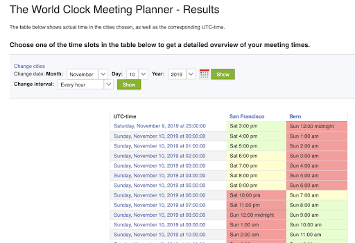 Screen shot from World Clock Meeting Planner showing times in two international cities
