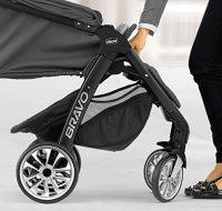 Automatic Stroller. Woman Pushing Baby Stroller. Best