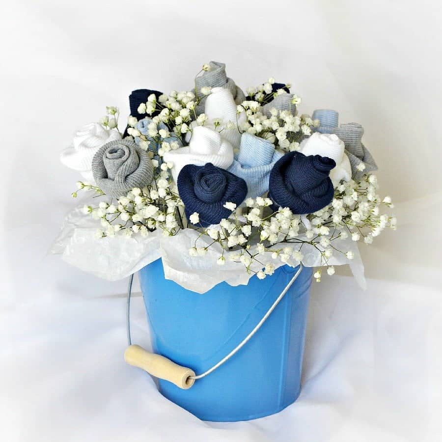 Baby Sock Flower Bouquet Shower Centerpiece 3