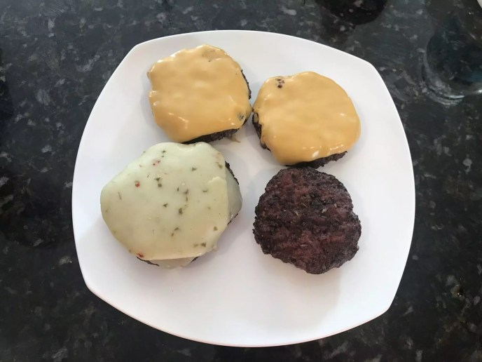 Burgers just pulled off the Big Green Egg w/ Cheese