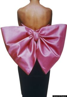 "Yves Saint Laurent, Black velvet sheath dress, ""Paris rose"" satin bow 