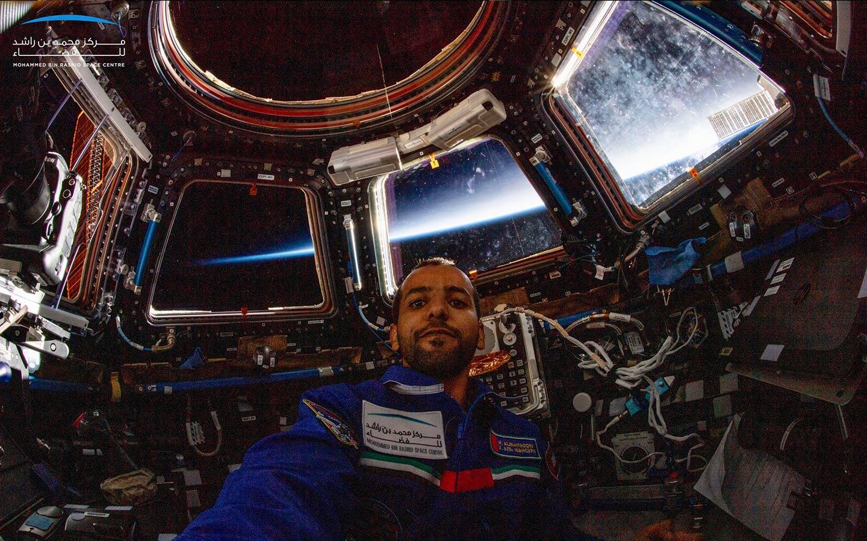 Emirati astronaut selfie from space