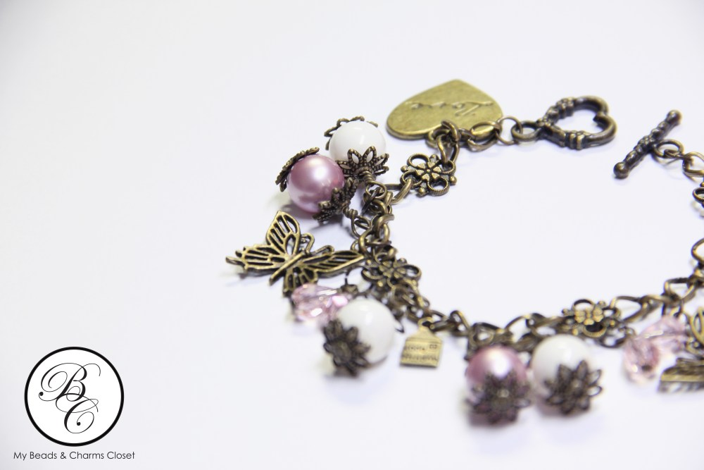 Autumn Series Inspired Charm Bracelet - Powder Rose (3/4)