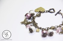 Autumn Season Inspired Charm Bracelet - Powder Rose Series (Side)