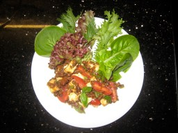 Ingredients tossed together and served with our own leaves straight from the garden