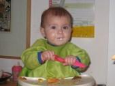 Lime green bib on beautiful Grand-baby