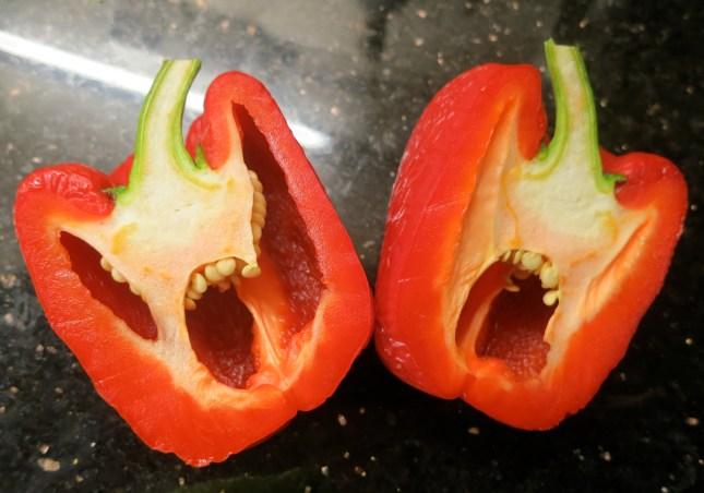 Red pepper sliced in half