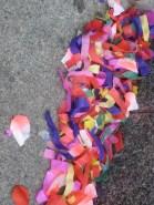 Confetti in the street in Barcelona