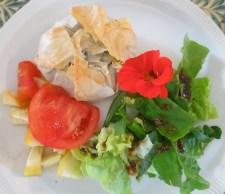 Filo parcels and salad