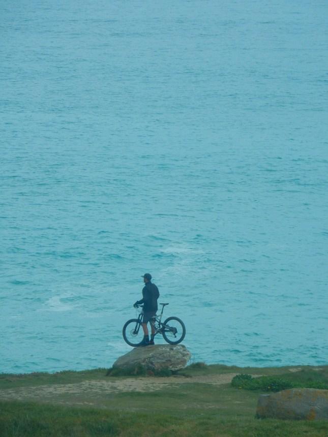 Biker on the Headland, Newquay