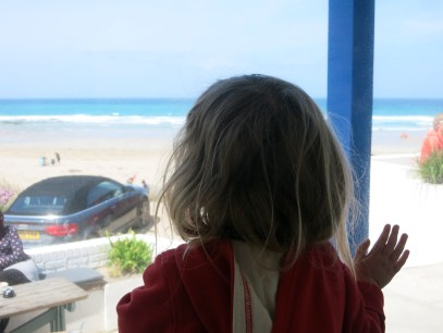 Looking out of the window of the Blue Bar