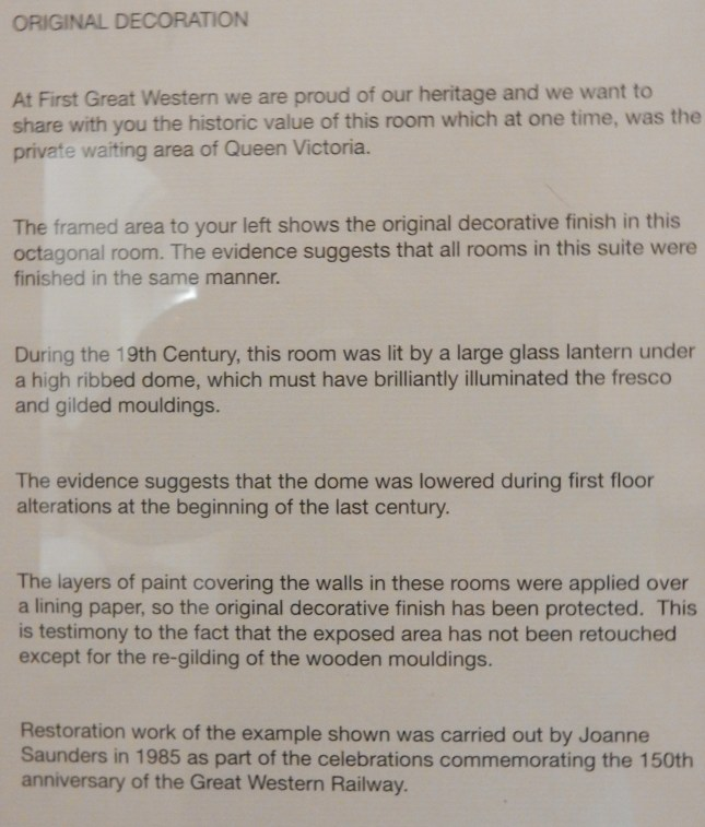 Information about the waiting room which was once the private waiting area of Queen Victoria