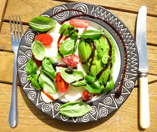 Avocado, mozzarella, tomatoes, basil and balsamic