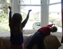 Waving goodbye to the parents