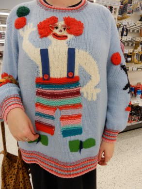 Clown seen in the supermarket. The wearer gave permission for the photos.