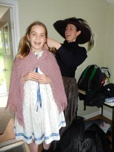 Katie doing her daughter's hair
