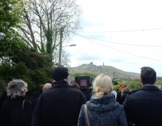 Carrying the coffin down to St Euny Church