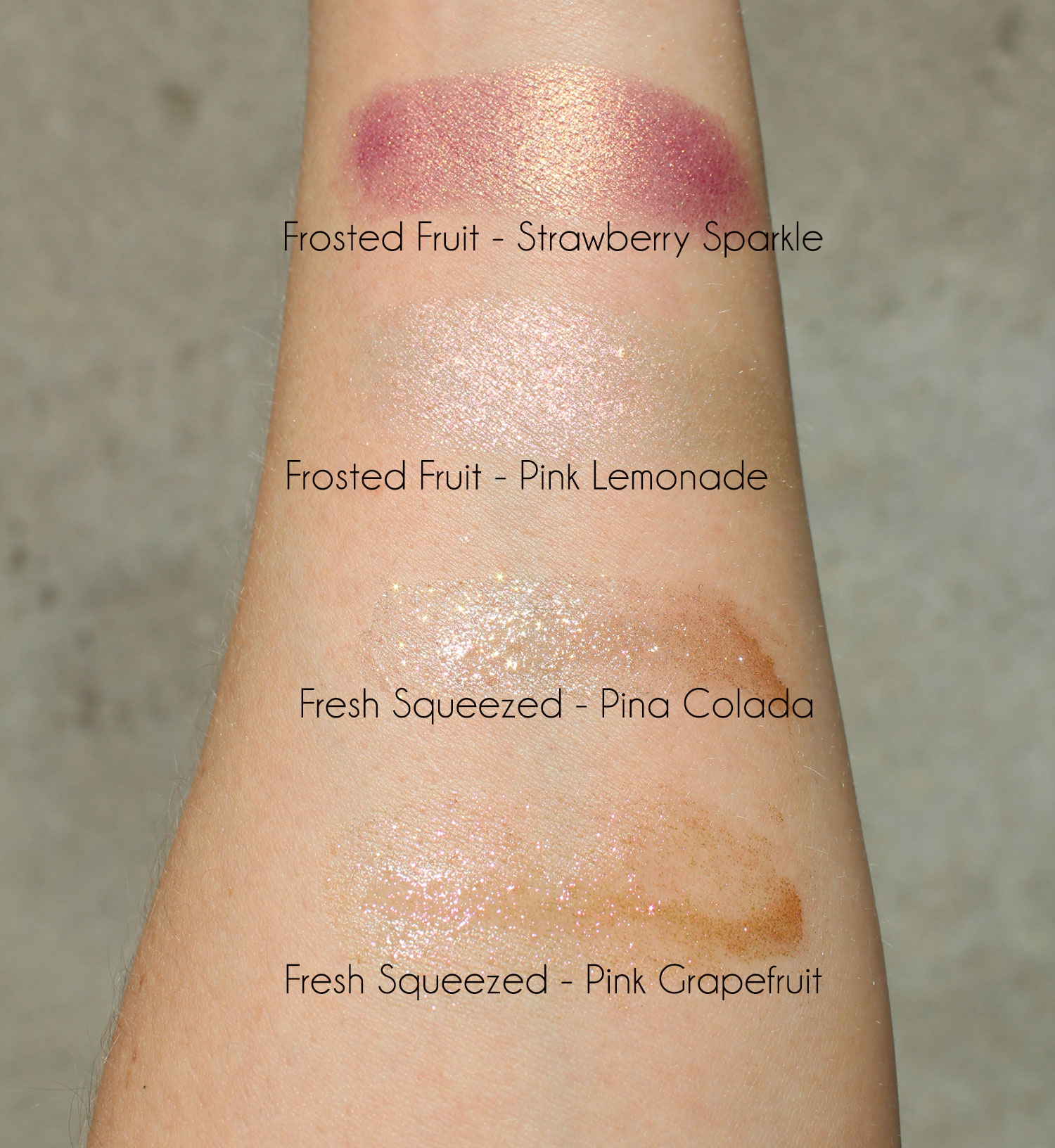 Too Faced Tutti Frutti Frosted Fruits Highlighter Sticks swatches by cruelty free blog My Beauty Bunny