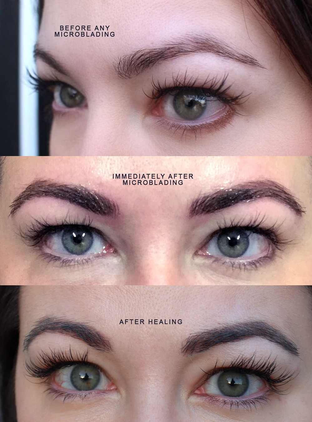 Before and after microblading by Los Angeles beauty blogger My Beauty Bunny