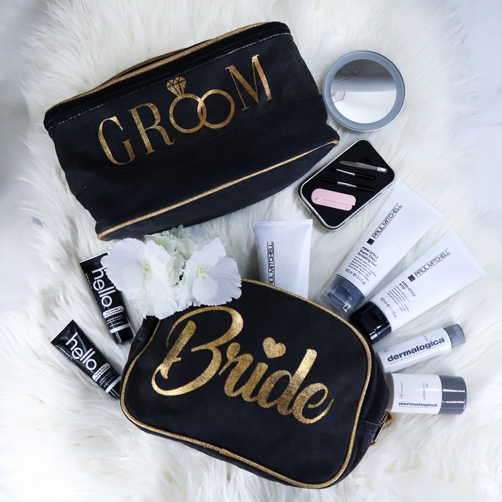 Bride and Groom Wedding Toiletry Bags and Cruelty Free Travel Size Beauty Products