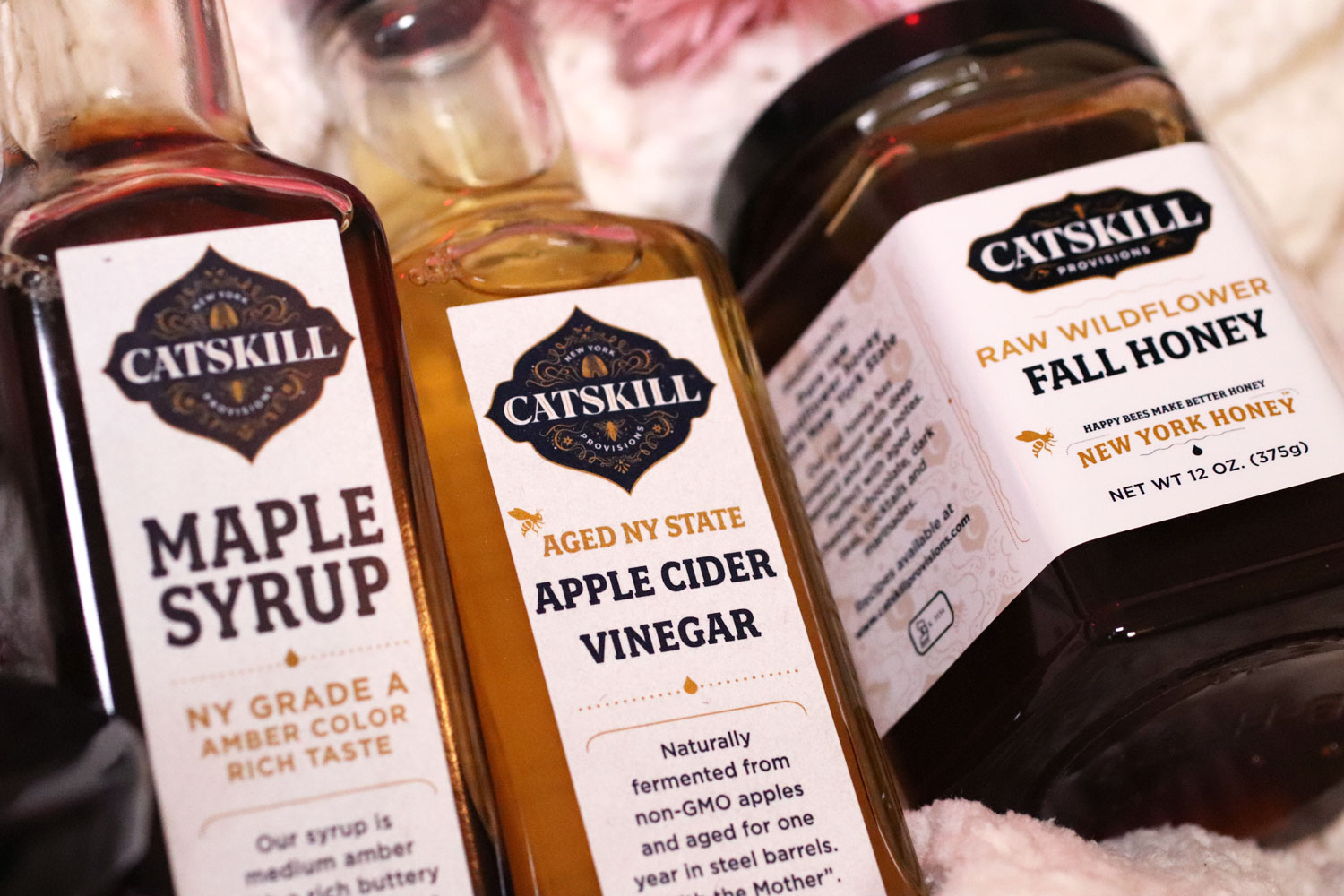 Woman Owned Holiday Gift Guide 2019 - Catskill Provisions maple syrup, honey and apple cider vinegar foodie gifts