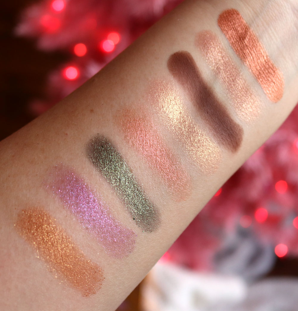 Too Faced Christmas Star palette eyeshadow swatches