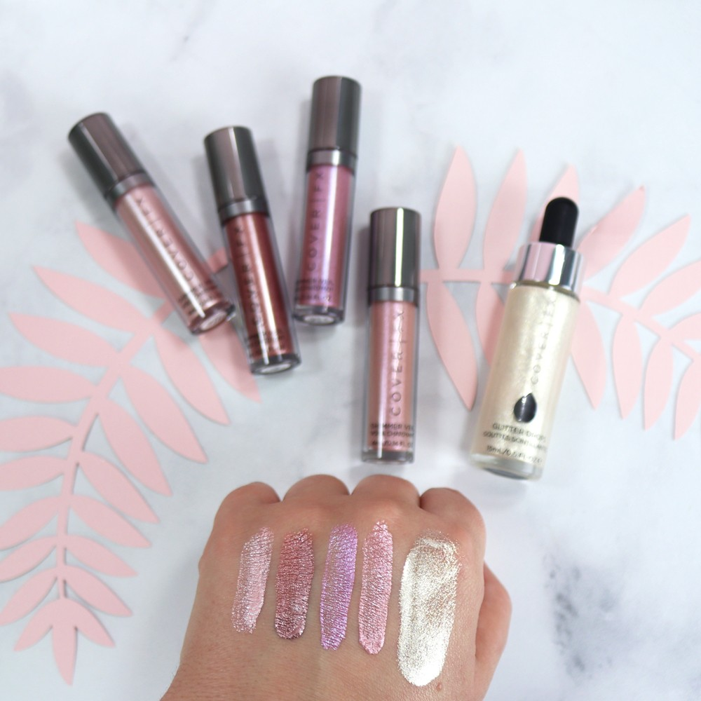 CoverFX Shimmer Veil and Glitter Drops - Swatches and review by Los Angeles cruelty free beauty blogger My Beauty Bunny