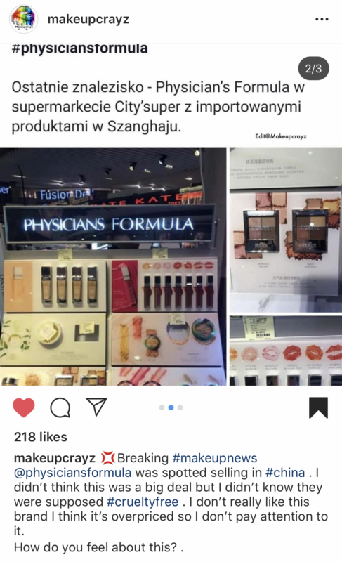Physicians Formula is not cruelty free any more - they are selling in China