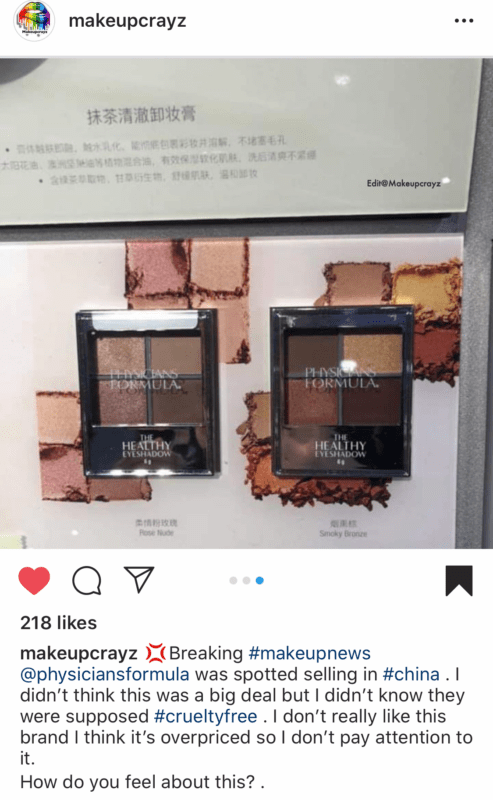 Physicians Formula is not cruelty free - they are selling in China