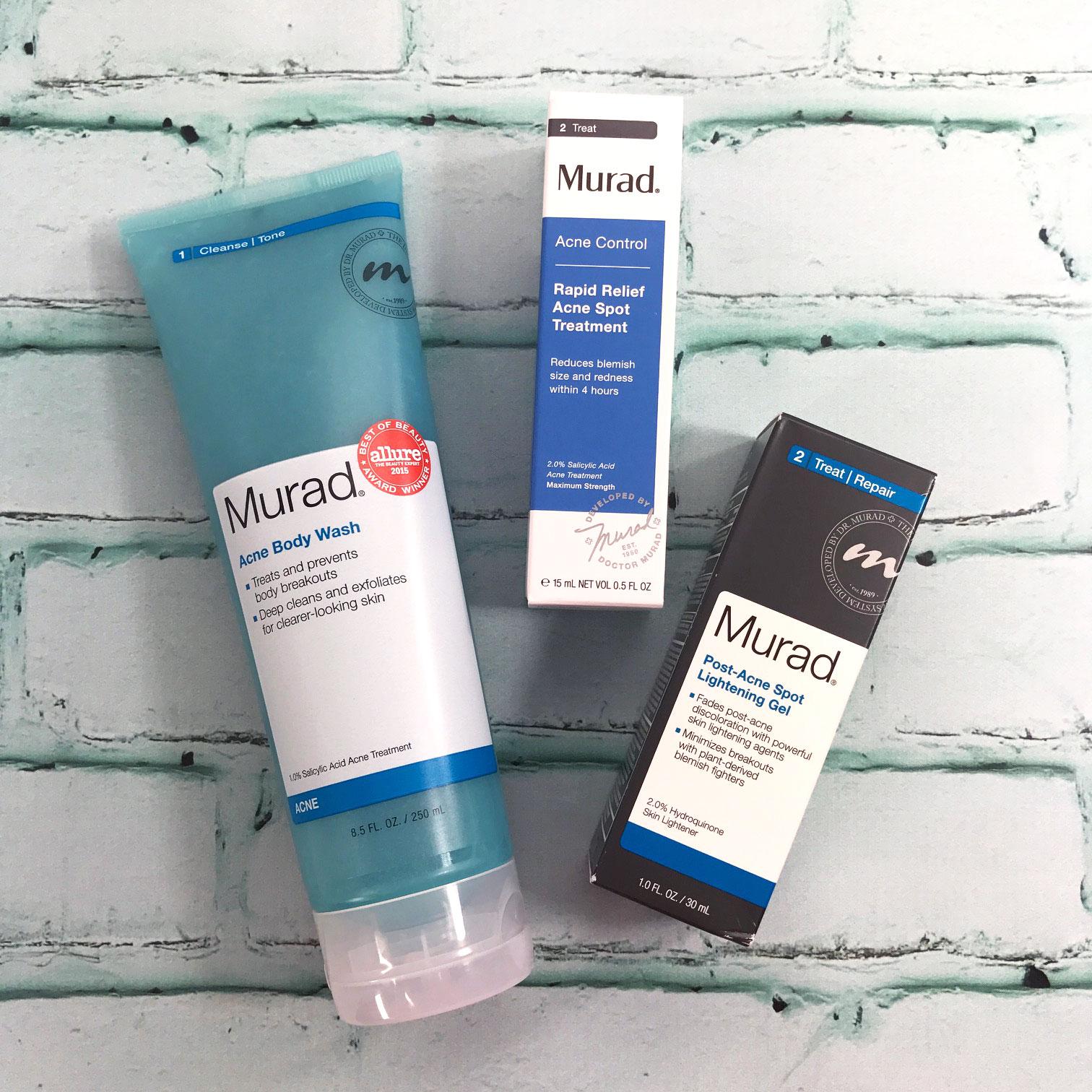 Murad Acne Body Wash, Murad Rapid Relief Acne Spot Treatment, Murad Post-Acne Spot Lightening Gel.