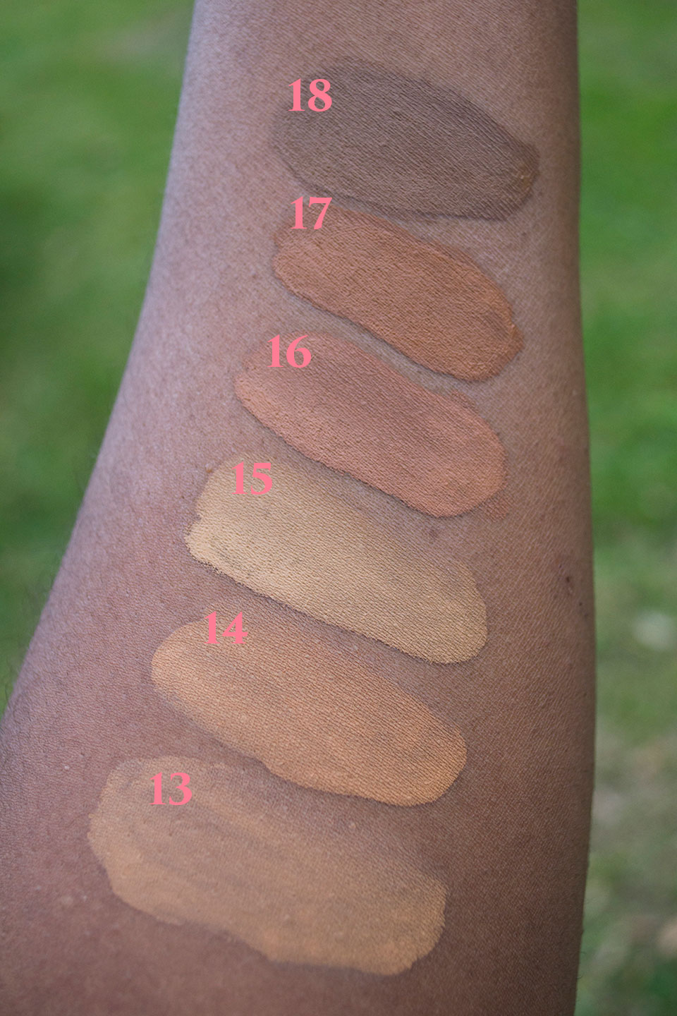 NYX Total Control Shades 13-18 - NYX Total Control Drop Foundation Swatches and Review by popular LA beauty blogger My Beauty Bunny